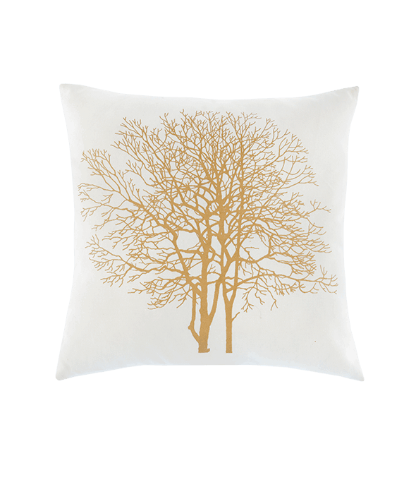 *Cuscino canvas bianco decoro albero oro 45×45 cm*