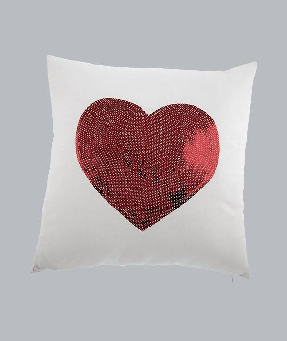 Cuscino tessuto bianco cuore rosso paillettes 45×45 cm