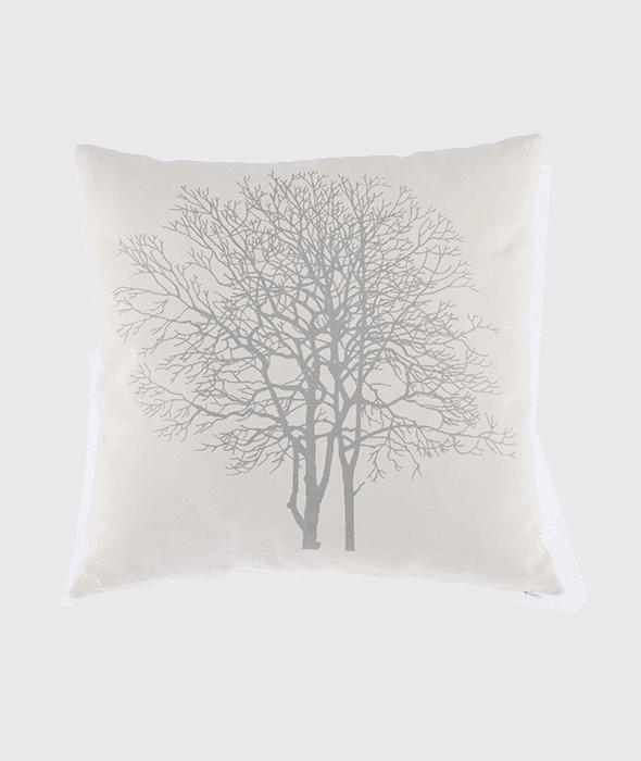 *Cuscino canvas bianco decoro albero argento 45×45 cm*