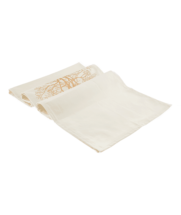 *Table runner tessuto decoro albero oro 40×180 cm*
