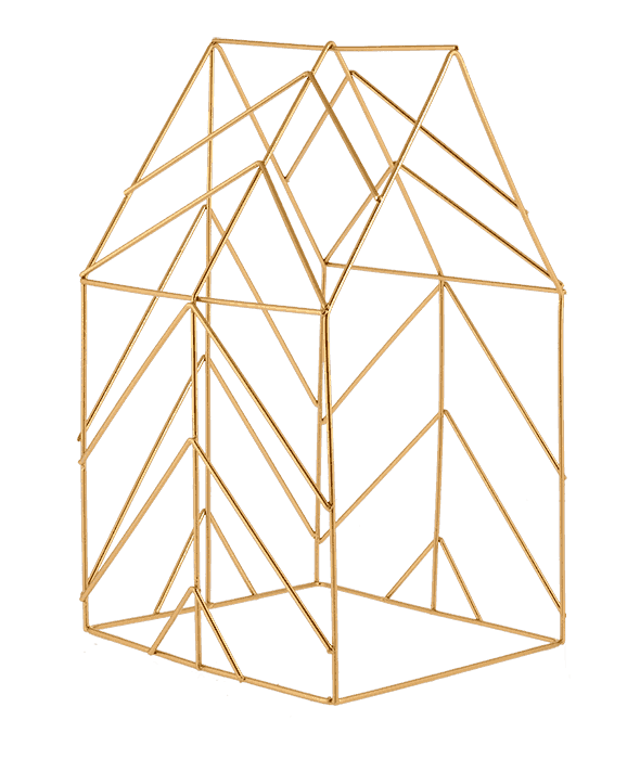 Bacheca sagoma casa metallo oro 21×36 cm