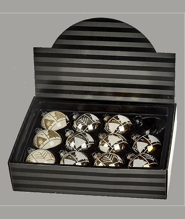 Palla di Natale vetro bianco-oro-rame 4 decori assortiti d.8 cm