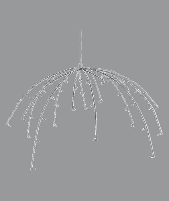 Espositore d'appendere ad ombrello metallo bianco d.60 cm