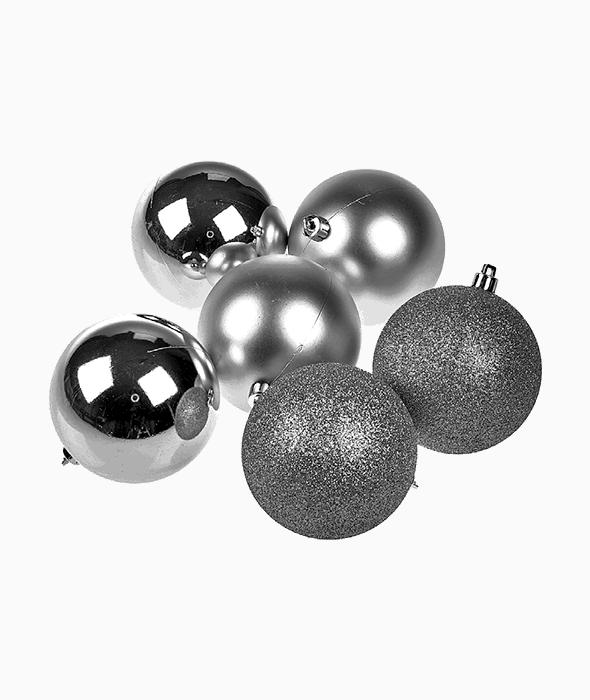 6 Palle di Natale plastica argento d.8 cm