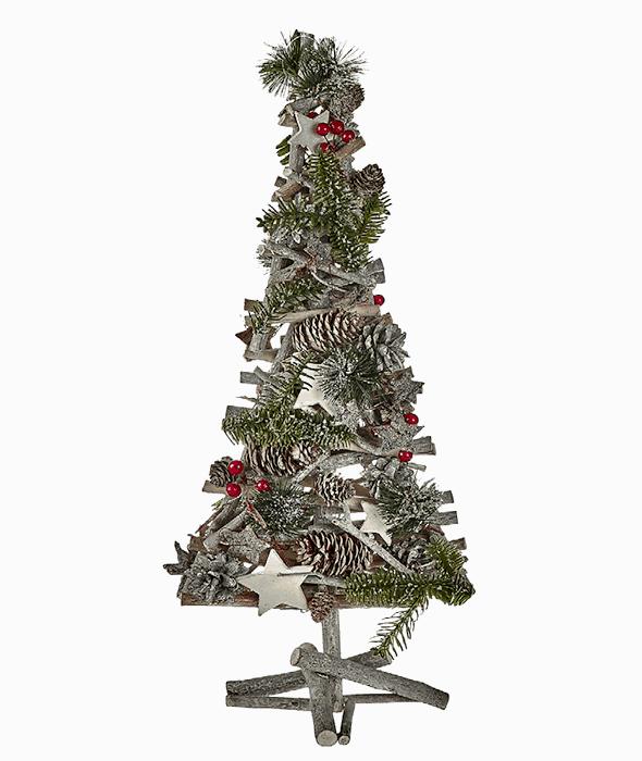 Pino legno decoro bacche-legnetti 55 cm