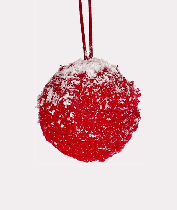 Palla di Natale polistirolo lana rossa d.8 cm