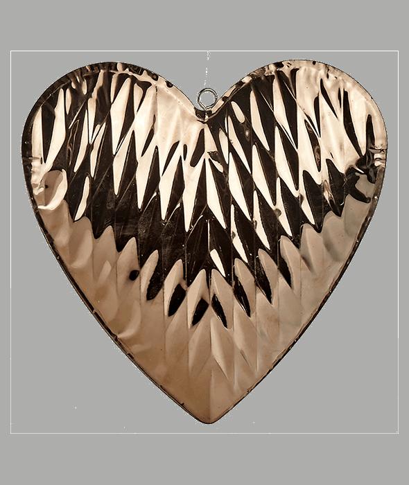 Cuore metallo copper d'appendere d.21 cm