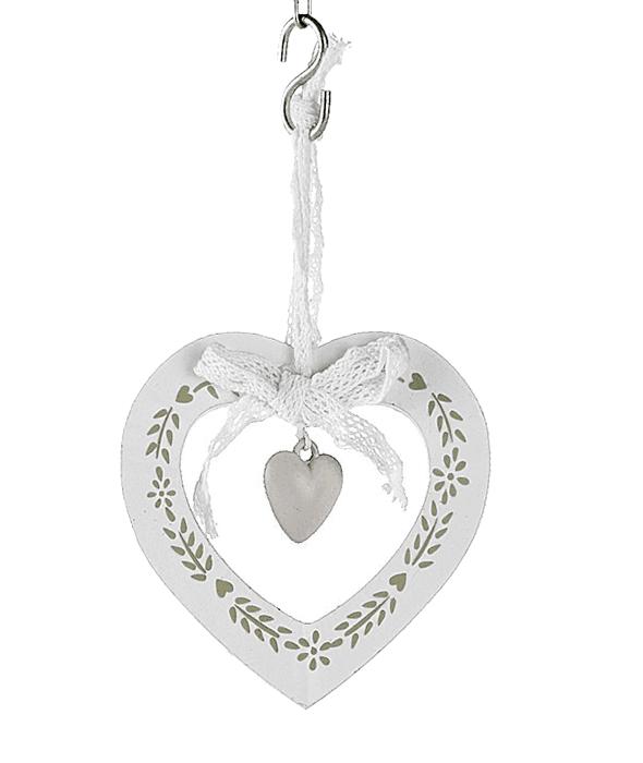 Pendente cuore legno bianco decoro foglie 9,5 cm