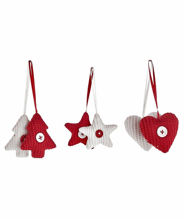 6 Pendenti stella/pino/cuore tessuto bianco/rosso 7 cm