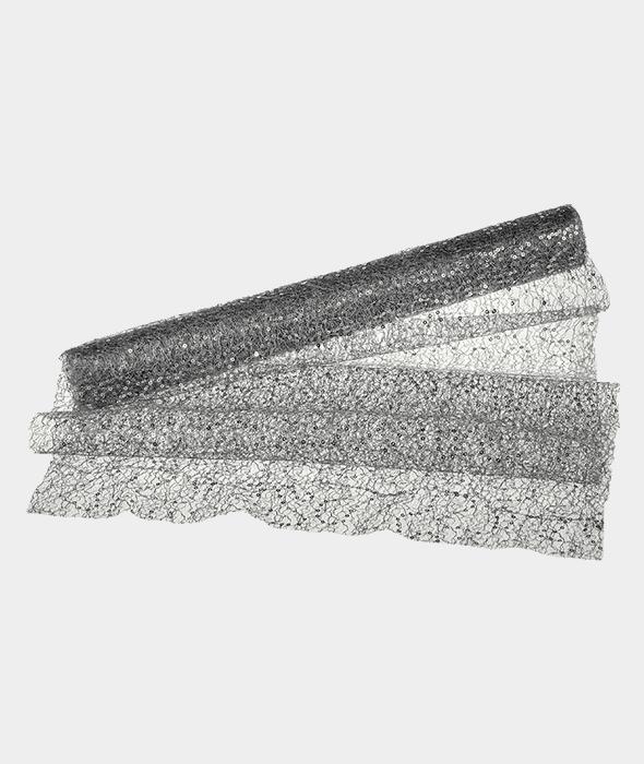 Tessuto rete argento paillettes 40×200 cm