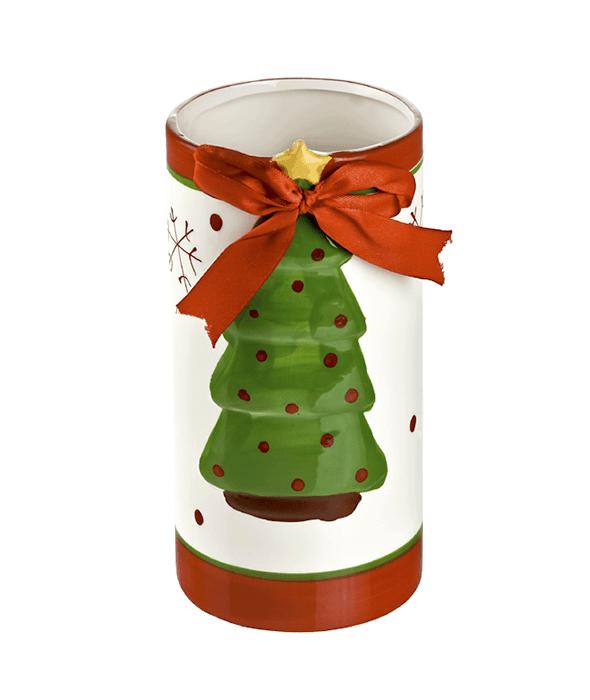 Vaso ceramica decoro pino h.20 cm