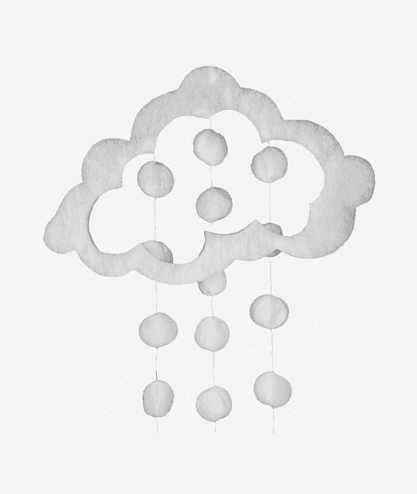 Pendente nuvola ovatta bianca cascata palle di neve 50×65 cm