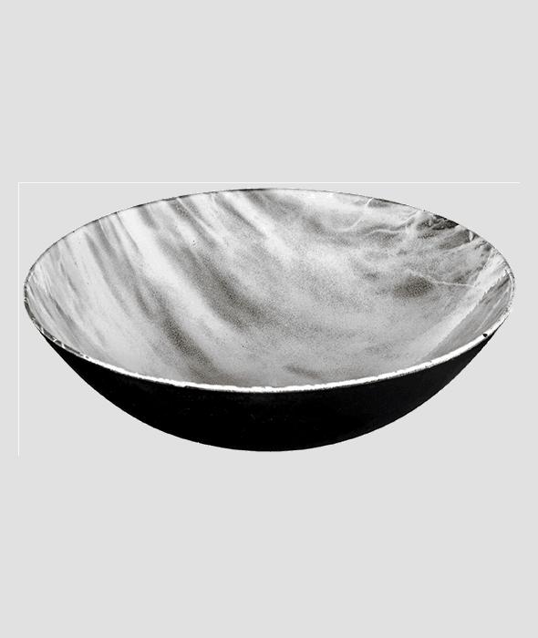 Ciotola plastica rotonda bianco/oro d.28 cm