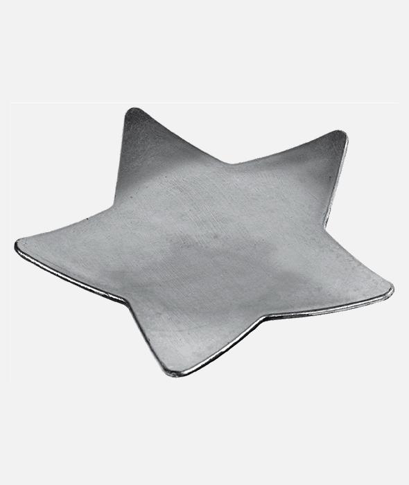 Piatto plastica stella argento d.28 cm