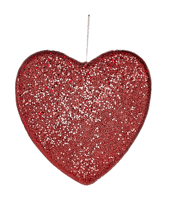 Cuore polistirolo glitter rosso 26 cm