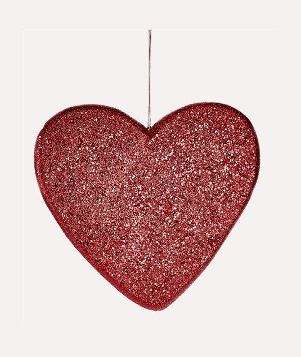 Cuore polistirolo glitter rosso 40 cm