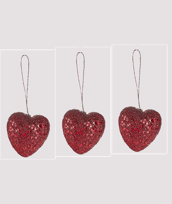 3 Cuori polistirolo glitter rosso 6 cm