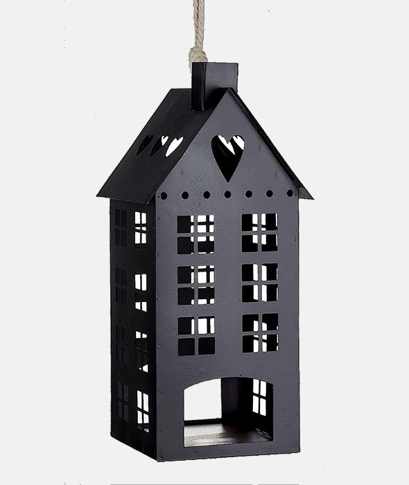 *Lanterna casetta ferro nera 13×29 cm*
