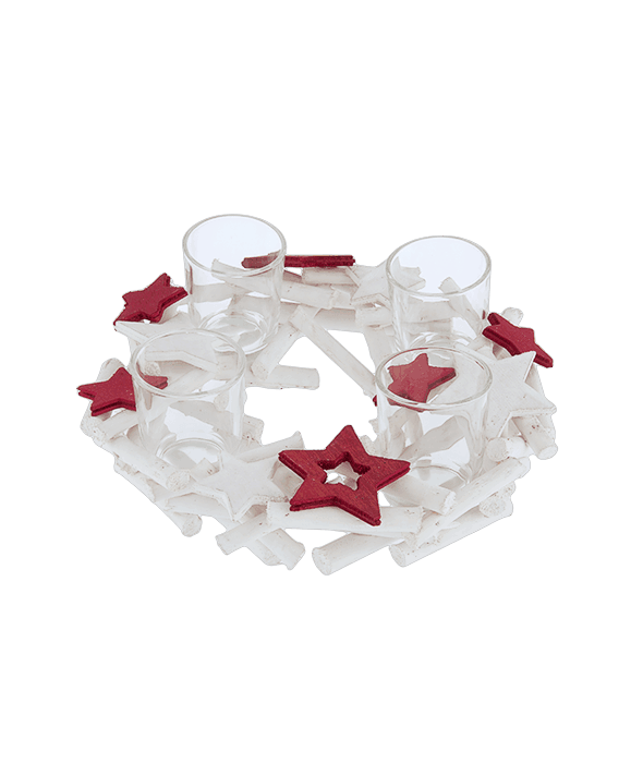 Portacandela legno bianco stelle rosse d.22 cm