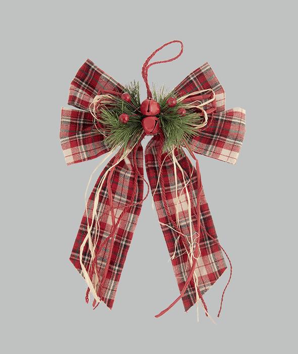 Fiocco tessuto scozzese rosso 24x36x5 cm