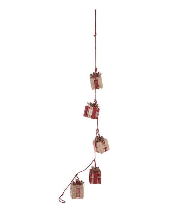 Collana pacchi dono polistirolo rivestimento tessuto scozzese rosso 114x6x8 cm