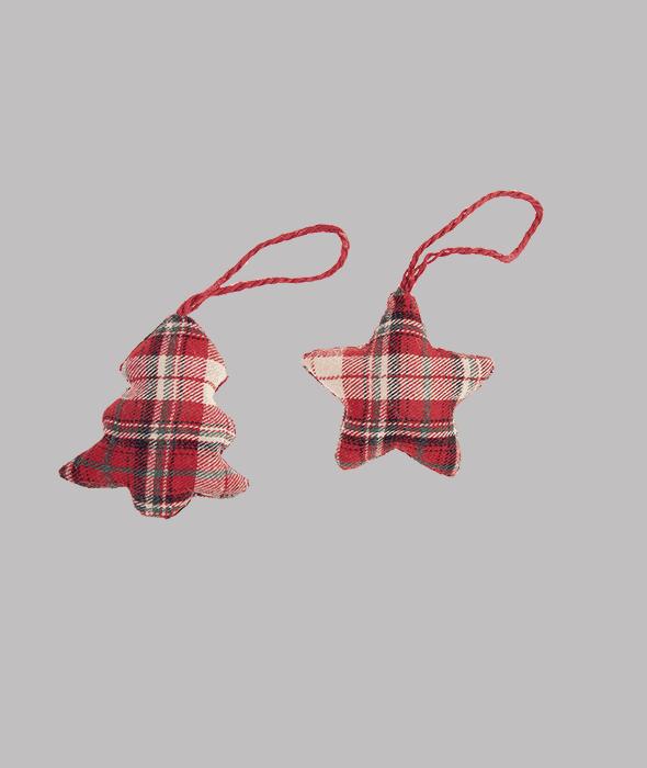 Pendente stella/pino polistirolo rivestimento tessuto scozzese rosso 8 cm