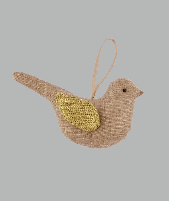 Pendente uccellino tessuto marrone 15×8 cm