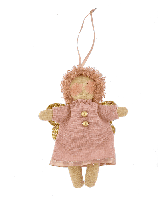 Pendente angelo bottoni tessuto cipria 11×15 cm