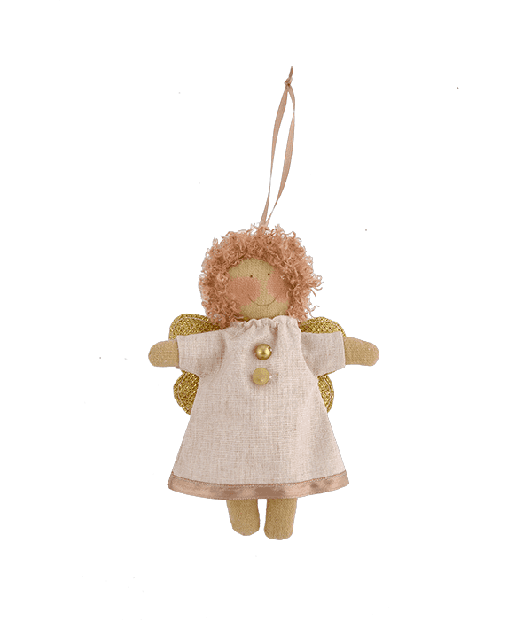 Pendente angelo tessuto crema 11×15 cm
