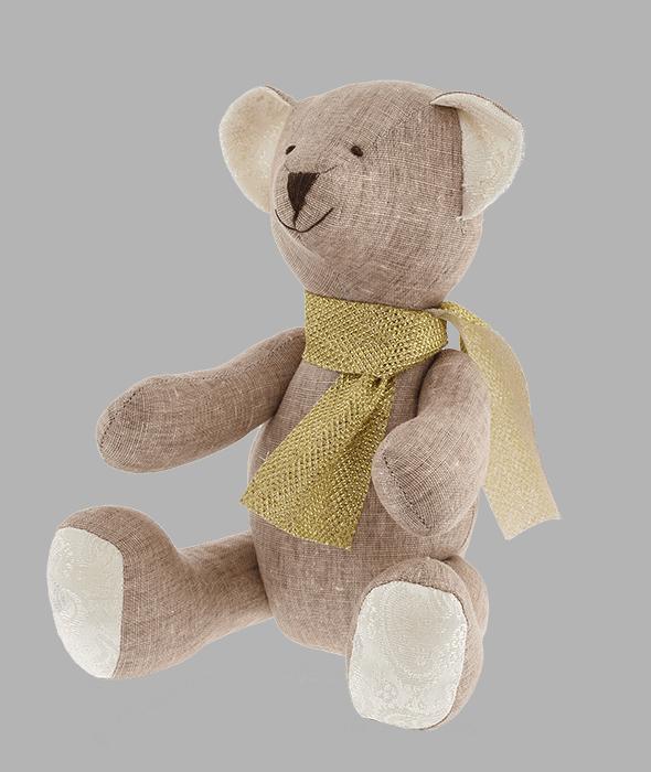 Orsetto tessuto marrone sciarpa oro 19x13x21 cm