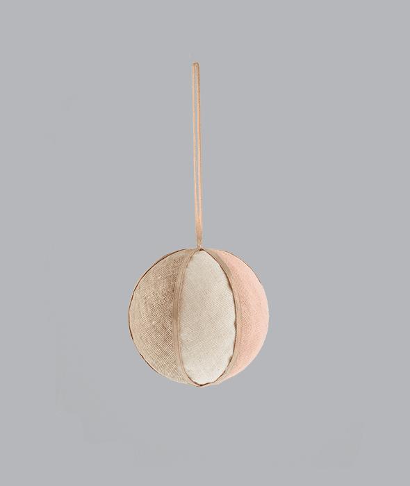 Palla di Natale spicchi cipria-crema-marrone d.8 cm