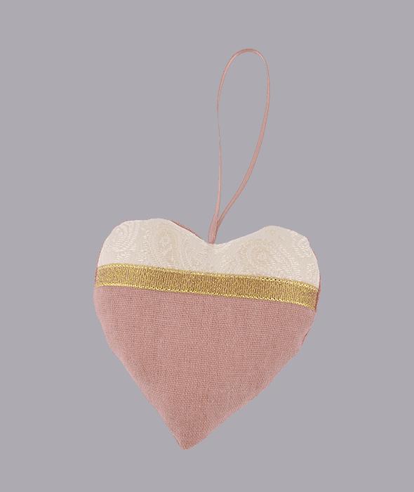 Pendente cuore cipria damascato 10×10 cm