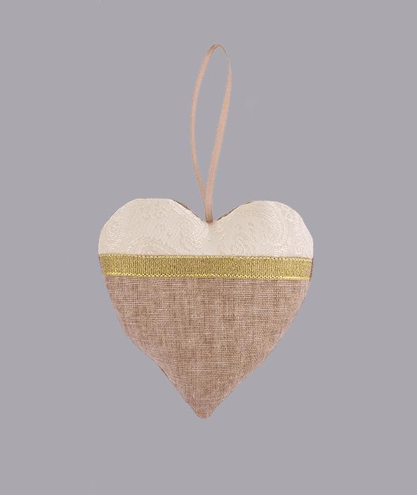 Pendente cuore tessuto marrone damascato 10×10 cm