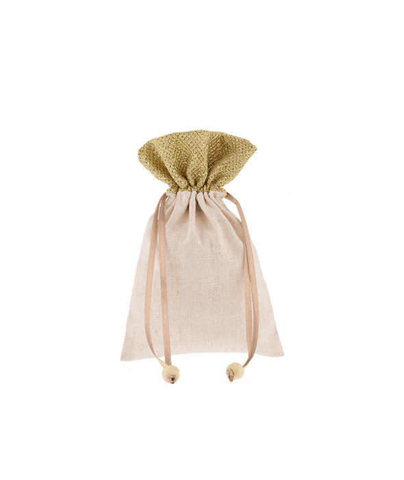Sacchetto tessuto crema bordo oro 10×15 cm