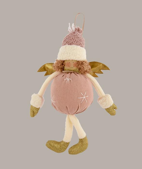 Angelo tessuto cipria ali oro 15×25 cm