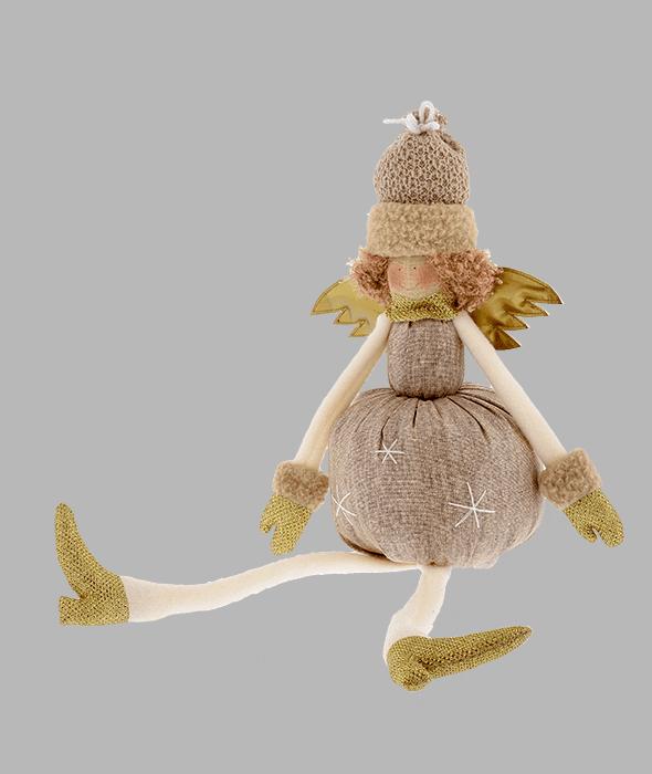 Angelo tessuto marrone ali oro 15×50 cm