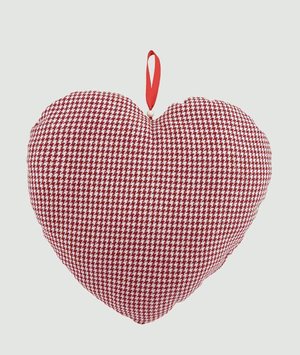 Cuore stoffa pied de poule rosso/bianco  31×32 cm