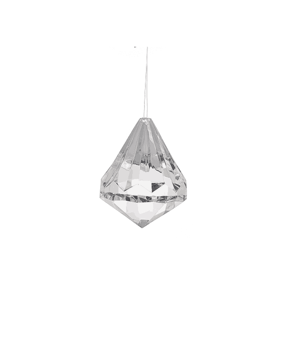 Pendente diamante acrilico 6 cm