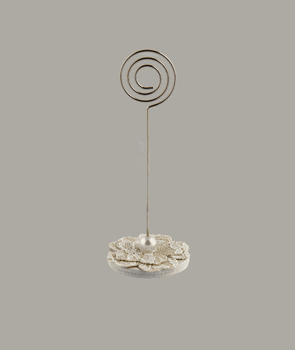 Segnaposto pizzo e perla h.9,5 cm