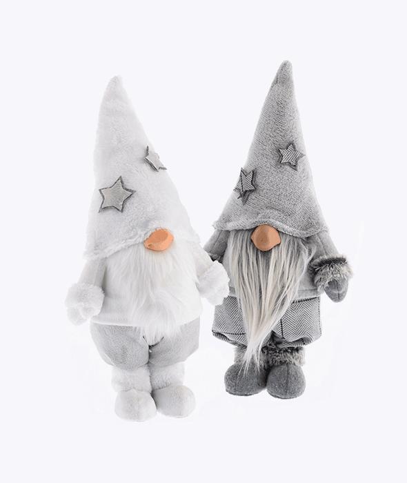 Fermaporta gnomo tessuto assortito grigio/bianco 21x12x41 cm
