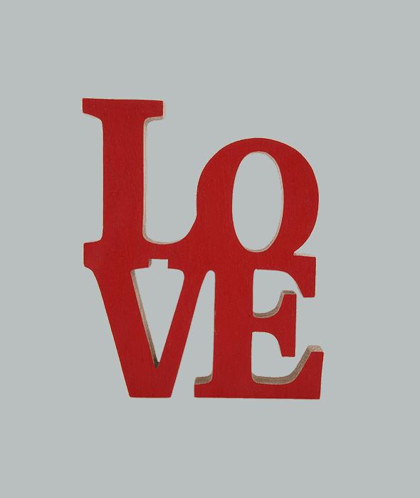 Scritta LOVE legno rosso 16x2x20 cm