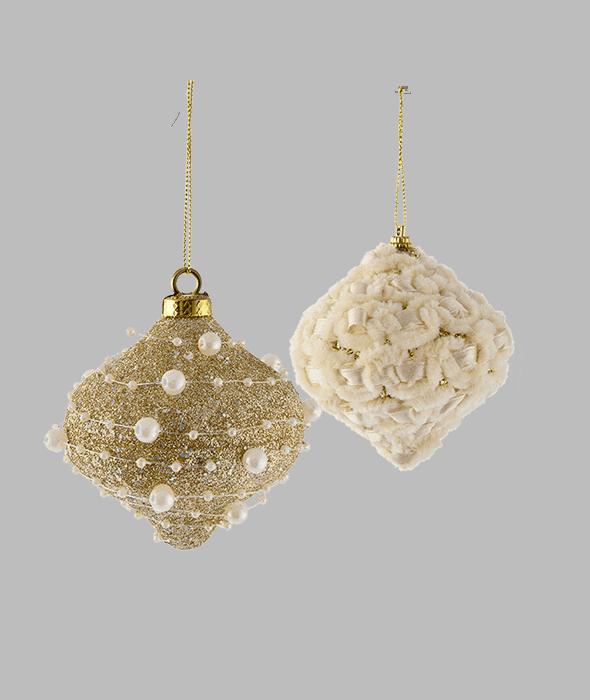 Globo polistirolo decoro perle e nastro 8 cm