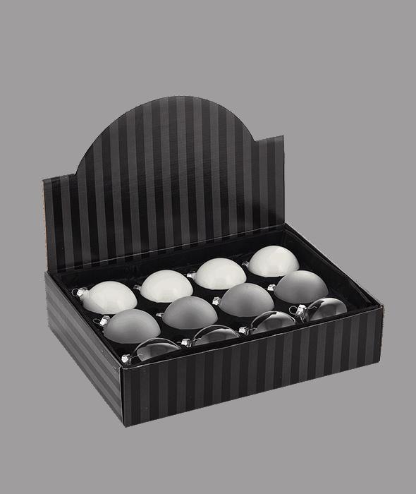Palla di Natale vetro bianco-trasparente 3 decori assortiti d.8 cm