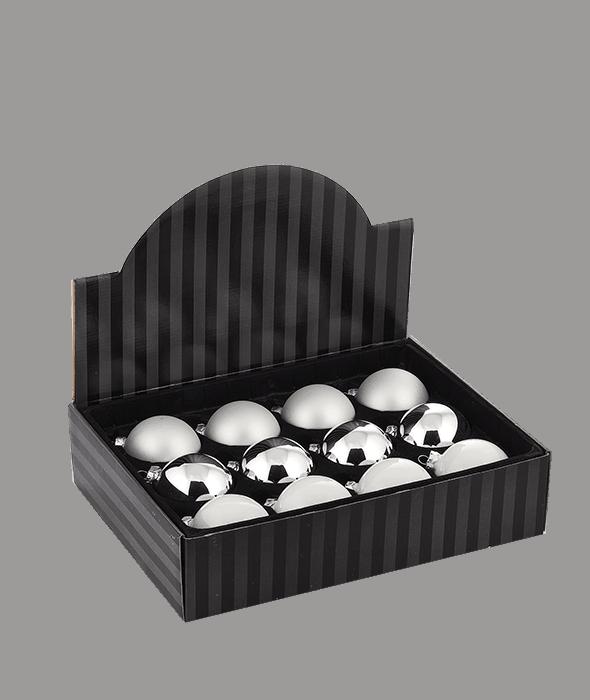 Palla di Natale vetro bianco-argento 3 decori assortiti d.8 cm