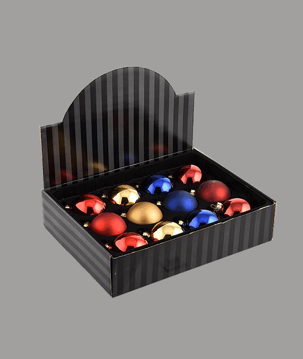 Palla di Natale vetro oro-rosso-blu 4 decori assortiti d.8 cm