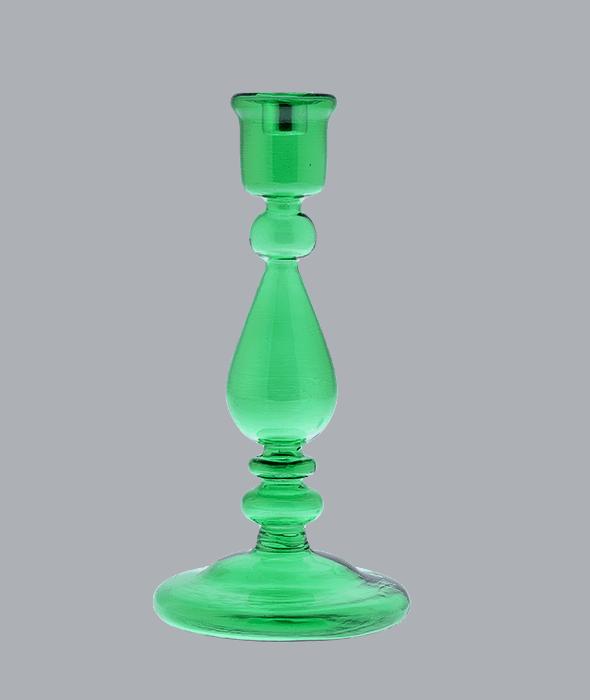 Candeliere vetro verde h.24 cm