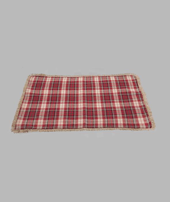 Tovaglietta tessuto scozzese rosso e juta 45×30 cm