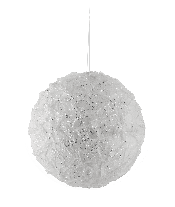 Sferone polistirolo bianco glitter argento d.20 cm