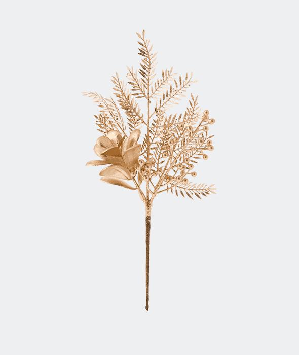 Rametto plastica bacche felce oro glitter 30 cm