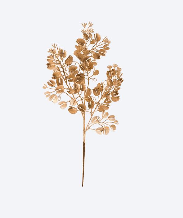 Ramo plastica eucalipto oro glitter 45 cm